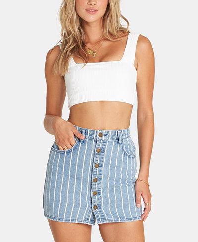 Billabong Juniors' Cotton Striped Denim Skirt