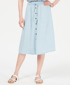 Style & Co Chambray Button-Front Midi Skirt, Created for Macy's