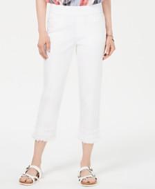 Style & Co Petite Crochet Fringe Capri Pants, Created for Macy's