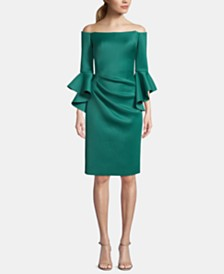Betsy & Adam Off-The-Shoulder Bell-Sleeve Sheath Dress
