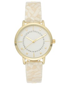 I.N.C. Women's White Horn  Resin Bangle Bracelet Watch 36mm, Created for Macy's