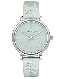 Anne Klein Women's Mint Metallic Leather Strap Watch 36mm