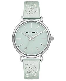 Anne Klein Women's Mint Metallic Leather Strap Watch 36mm