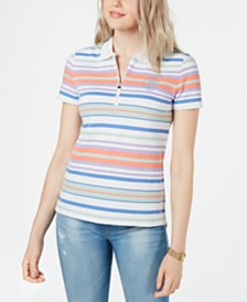 Tommy Hilfiger Multi-Stripe Zip-Up Polo Shirt