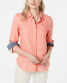 Tommy Hilfiger Jacquard Roll-Tab Button-Up Shirt