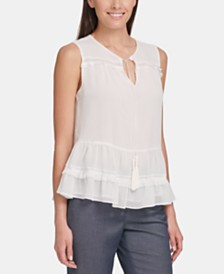 Tommy Hilfiger Ruffled Tassel-Tie-Front Top