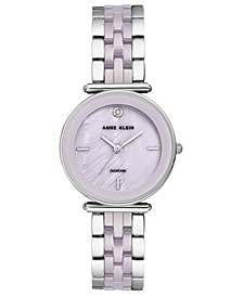 Women's Diamond-Accent Lavender Ceramic & Silver-Tone Bracelet Watch 30mm