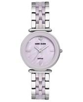 a815f4d68 Anne Klein Women's Diamond-Accent Lavender Ceramic & Silver-Tone Bracelet  Watch 30mm