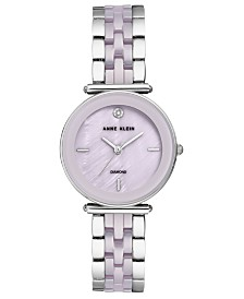 Anne Klein Women's Diamond-Accent Lavender Ceramic & Silver-Tone Bracelet Watch 30mm