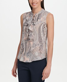 Tommy Hilfiger Ruffle-Front Paisley Top