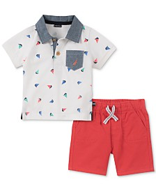 Nautica Baby Boys 2-Pc. Cotton Printed Polo Shirt & Shorts Set