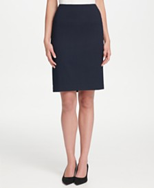 Tommy Hilfiger Textured Pinstriped Pencil Skirt