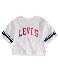 Levi's® Big Girls Football Stripe Cropped Cotton T-Shirt