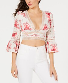 GUESS Trista Cropped Bell-Sleeve Top