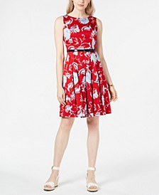 Belted Floral-Print Dress, Created for Macy's