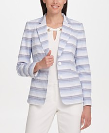 Tommy Hilfiger Textured Striped Two-Button Blazer