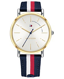 Women's Red, White, & Blue Nylon Strap Watch 35mm, Created for Macy's