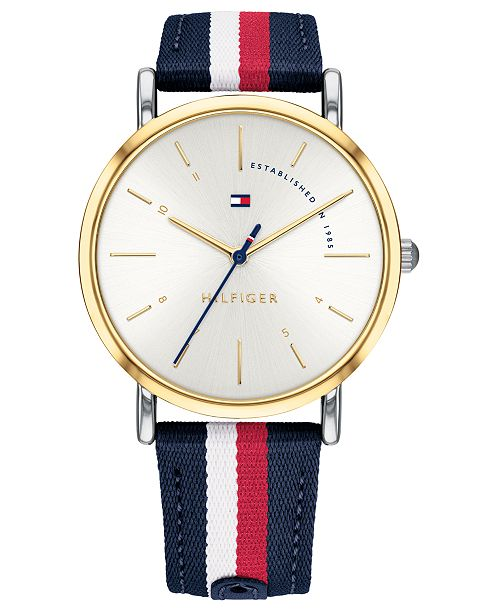 Tommy Hilfiger Women's Red, White, & Blue Nylon Strap Watch 35mm, Created for Macy's