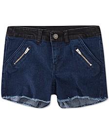 Little Girls Colorblocked Zipper Shorts