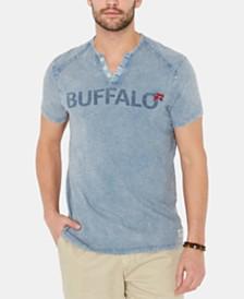 Buffalo David Bitton Men's Kuway Logo Graphic Split-Neck T-Shirt