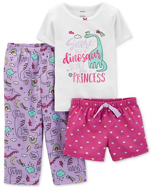 Carter's Toddler Girls 3-Pc. Dino Snore Pajamas Set