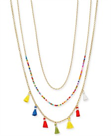 I.N.C. Gold-Tone 3-Pc. Set Tassel and Bead Layered Statement Necklaces, Created for Macy's