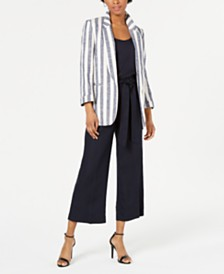 Bar III Striped Blazer, Crepe Top & Wide-Leg Pants, Created for Macy's