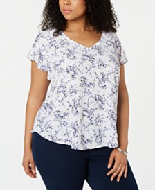 Nine West Plus Size Printed Flutter-Sleeve Top