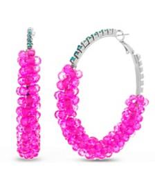 Kensie Women's Rhinestone Cluster Style Large Hoop Earrings