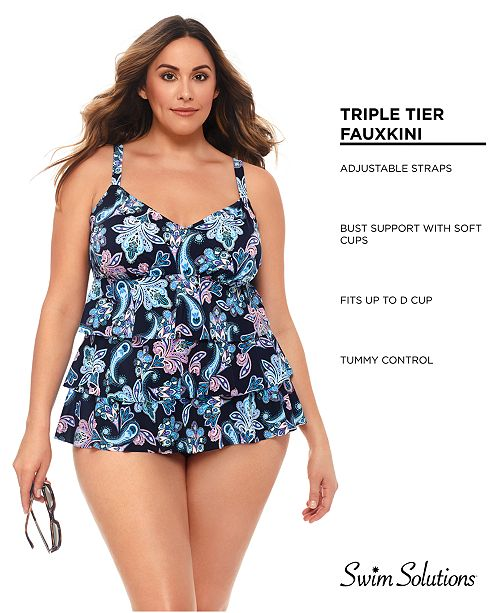 7deb167a25 Swim Solutions Plus Size Paisley Tiered One-Piece Swimsuit, Created For  Macy's ...