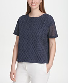 DKNY Pin Dot Lace Top