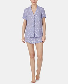 Betsey Johnson Notch Collar Top and Shorts Printed Pajama Set