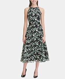 Tommy Hilfiger Belted Floral Embroidered Midi Dress