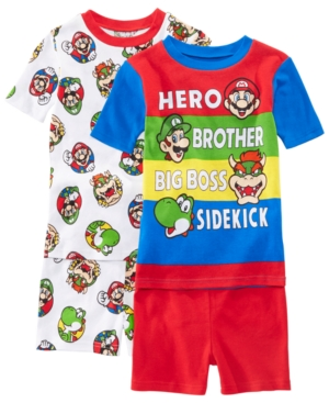 Image of Ame Little & Big Boys 2-Pack Mario Brothers Graphic Cotton Pajamas