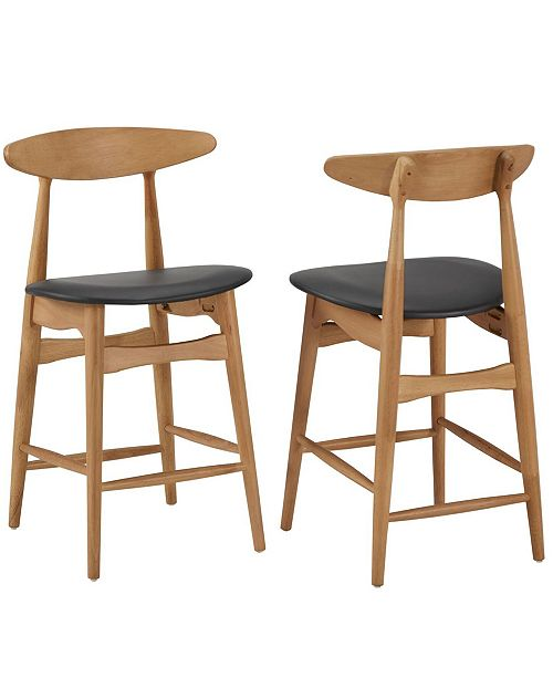 Prime Larvik Mid Century Natural Wood Finish Counter Height Stools Set Of 2 Cjindustries Chair Design For Home Cjindustriesco