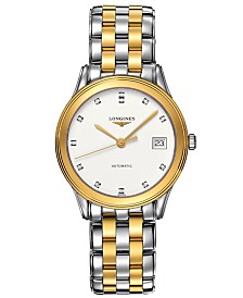 Longines Men's Swiss Automatic Flagship Diamond Accent Two Tone Stainless Steel Bracelet Watch 36mm L47743277
