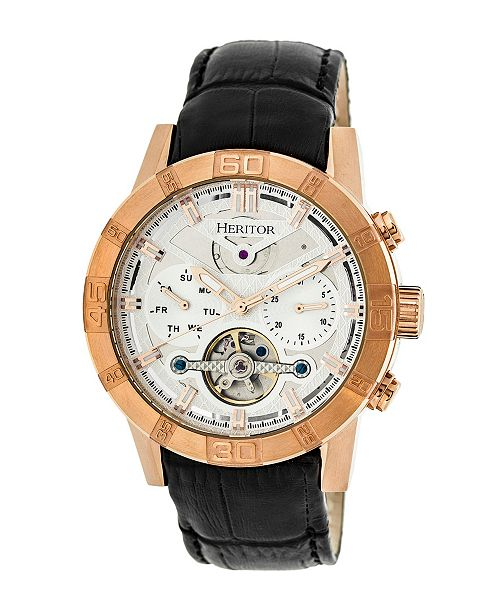Heritor Automatic Hamilton Silver Dial, Rose Gold Case, Genuine Black Leather Watch 44mm