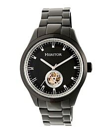 Heritor Automatic Crew Black Stainless Steel Watch 46mm