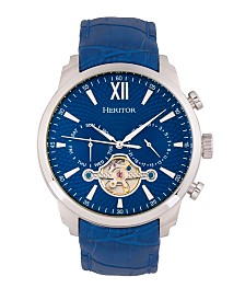 Heritor Automatic Arthur Blue Dial, Genuine Blue Leather Watch 45mm