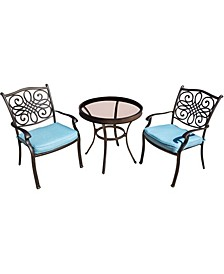 "Traditions 3-Piece Bistro Set with 30"" Glass-top Table - 29.05"" x 29.8"" x 45.18"""