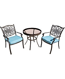 """Traditions 3-Piece Bistro Set with 30"""" Glass-top Table - 29.05"""" x 29.8"""" x 45.18"""""""