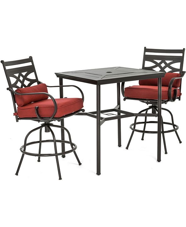"""Hanover Montclair 3-Piece High-Dining Set with 2 Swivel Chairs and a 33"""" Square Table - 36.2"""" x 33"""" x 87.9"""""""