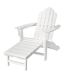 """All-Weather Contoured Adirondack Chair with Hideaway Ottoman - 37.5"""" x 29.75"""" x 48"""""""