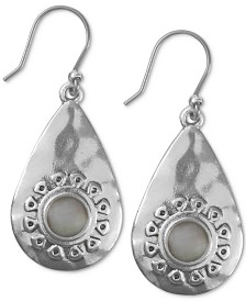Lucky Brand Silver-Tone Stone Flower Sculptural Drop Earrings
