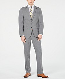 Men's Slim-Fit Flex Stretch Wrinkle-Resistant Gray Sharkskin Suit