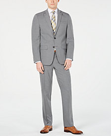 Van Heusen Men's Slim-Fit Flex Stretch Wrinkle-Resistant Gray Sharkskin Suit
