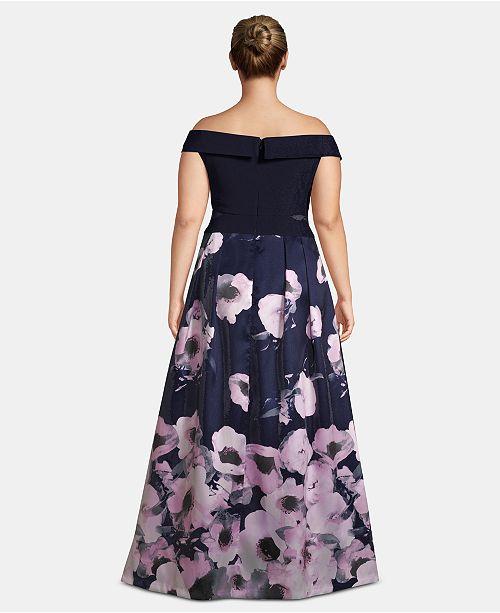 7fc7180db23 XSCAPE Plus Size Off-The-Shoulder Floral-Print Gown & Reviews ...