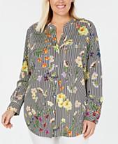 1ab082d8 Calvin Klein Plus Size Printed Utility Shirt. Quickview. 3 colors