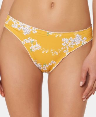 Printed Lettuce-Edge Hipster Bikini Bottoms