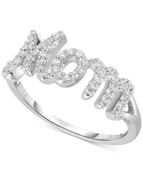 "Macy's Diamond ""Mom"" Ring (1/4 ct. t.w.) in Sterling Silver"